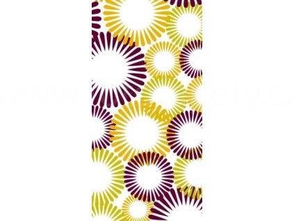 Samolepící fototapeta na dveře - Fialovo oranžové kruhy, 95x210 cm, D041