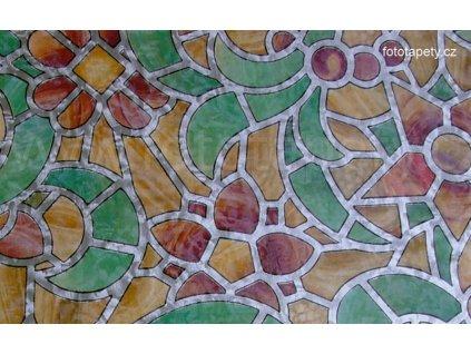Barevná transparentní samolepící folie šíře 45cm, vzor Reims green yellow