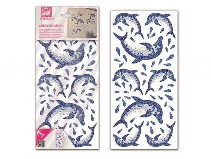 Dekorace na obkladačky, vzor Delfíni mozaika, 15x31cm