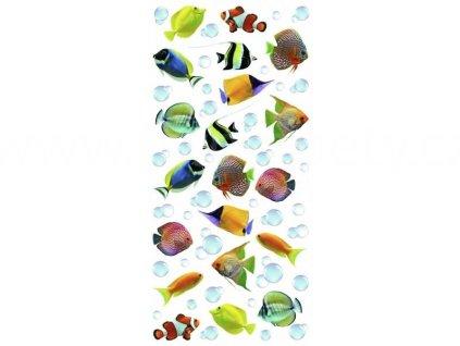 Dekorace na obkladačky, vzor Pestrobarevné rybičky, 15x31cm