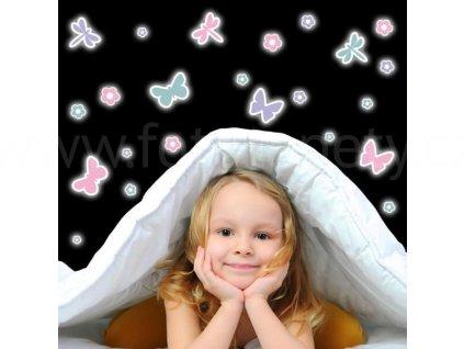 Svítící samolepky na zeď - Motýlci, 15x31cm, 77224