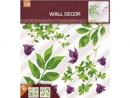 Samolepka na zeď Zelené listy & fialoví motýlci, 31x31cm