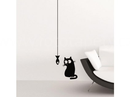 Samolepka na zeď Kočka & ryba, 15x31cm