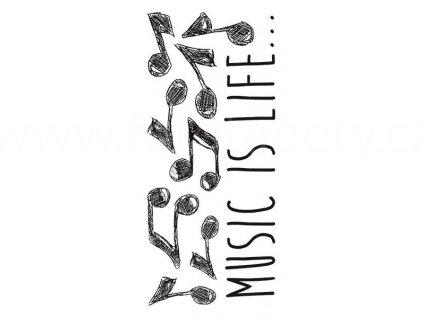 Dekorační samolepící nástěnný vzor Music if life - noty, 15x31cm