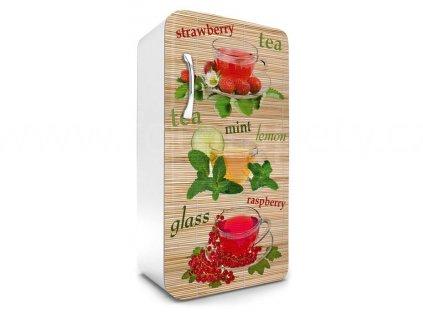 Samolepící fototapeta na lednici - Jahodový, citrónový čaj, 65x120cm, 021