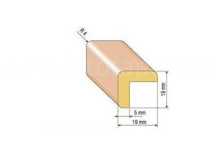 Dřevěná rohová lišta, 19x19 mm (Varianta borovice 1 metr)