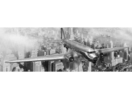 Samolepící fototapeta do kuchyně - Letadlo nad New Yorkem, 180x60cm, 039