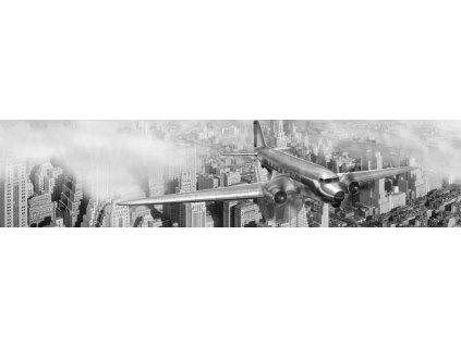 Samolepící fototapeta do kuchyně - Letadlo nad New Yorkem, 260x60cm, 039