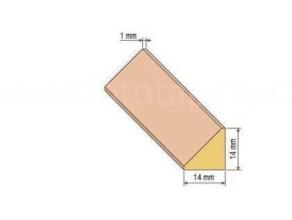 Dřevěná trojúhelníková lišta, 14x14 mm (Varianta borovice 1 metr)