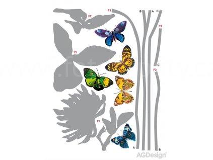 Samolepka na zeď Šedé rostliny a motýlci, 65 x 85 cm, F0405