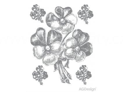 Dekorace F0458, samolepky na zeď - Stříbrné květy, 65 x 85 cm