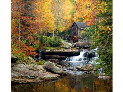 Foto závěs  Vodní mlýn na podzim, 280x245cm