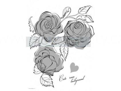 Semišová samolepka na zeď FL 1034 - Stříbré růže, 65x85cm