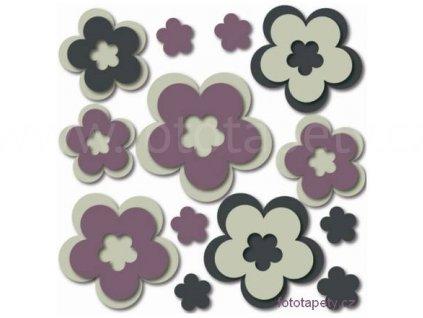 Pěnová samolepící dekorace Flowers, 28,5x28,5cm, doprodej