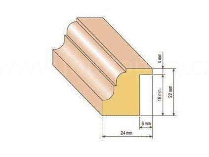 Dřevěná zasklívací lišta na dveře (Varianta borovice 1 metr)
