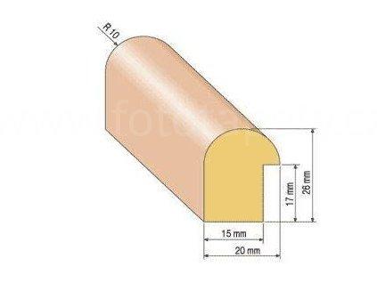 Dřevěná zasklívací lišta, R 10 (Varianta borovice 1 metr)