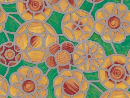 Barevná transparentní samolepící folie, Zeleno oranžová vitráž