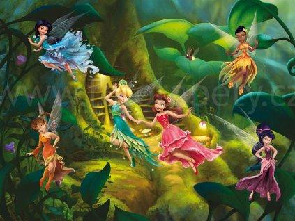 Čtyřdílná dětská Disney fototapeta Kouzelné víly v lese, FTDN xxl 5032, 360x270cm
