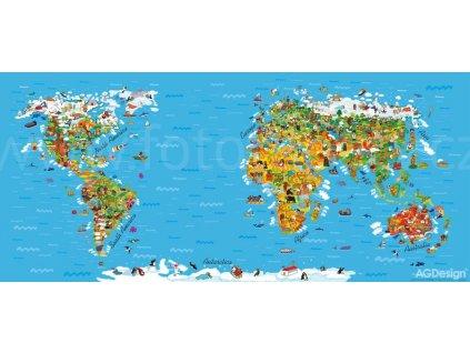 Jednodílná vliesová fototapeta Mapa světa FTN h 2731, 202x90cm