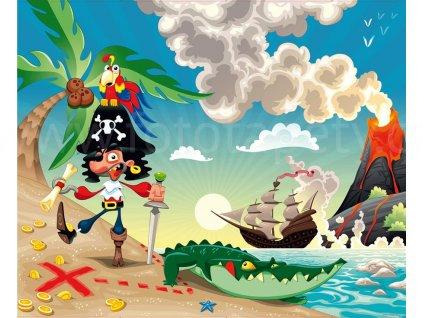 Čtyřdílná dětská fototapeta Piráti, FTN xxl 0406, 360x270cm