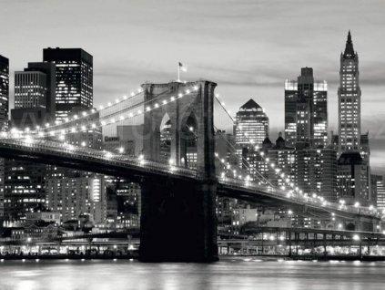 Čtyřdílná obrazová fototapeta Most v noci - černobílý FTS 0199, rozměr 360 x 254cm