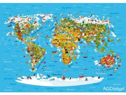 Čtyřdílná obrazová fototapeta Mapa světa FTS 1320, rozměr 360 x 254cm