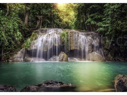 Čtyřdílná obrazová fototapeta Vodopád v tropech FTS 1323, rozměr 360 x 254cm