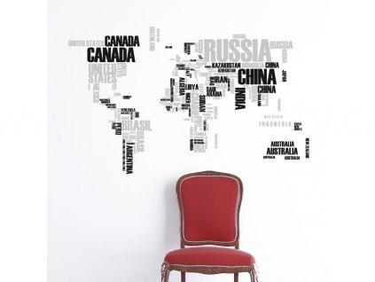 Samolepka na zeď Mapa světa, 70x100cm