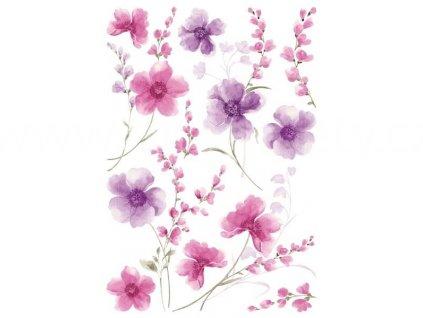 Samolepka na zeď Fialové květy, 70x100cm