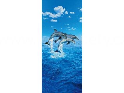 Obrazová tapeta dvoudílná Delfíni ve skoku, šířka 86, výška 200, ID 599
