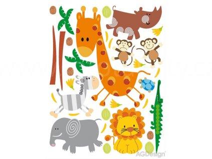 Dekorace K 0802 - samolepka pro děti Zoo - žirafa, zebra, opičky, slon, lev 65 x 85 cm
