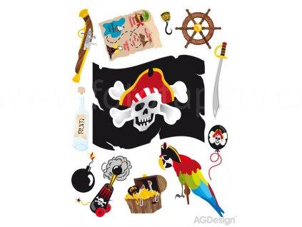 Dekorace K0821 - samolepka pro děti Pirátská vlajka, papoušek, poklad, 65 x 85 cm, skladem