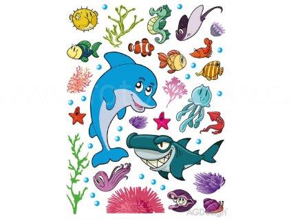 Dekorace K 0822 - samolepka pro děti Delfín a žralok, 65 x 85 cm