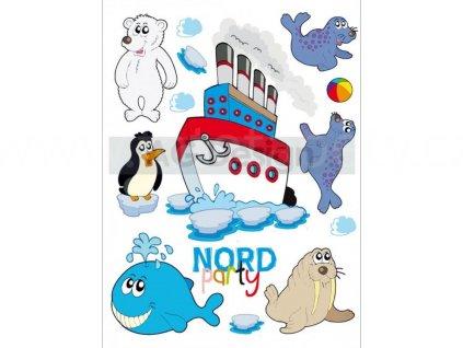 Dekorace K 0826 - samolepka Loď, lední medvěd, tuleň a velryba, 65 x 85 cm