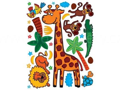 Žirafa, lev a opičky - samolepící dětský obrázek - rozměr 65 x 85 cm