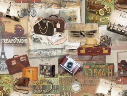 Samolepící tapeta d-c-fix Decor, vzor Retro cestování, kufry
