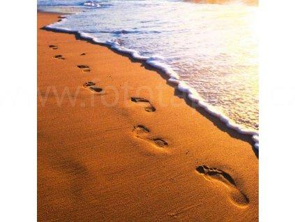 Třídílná vliesová fototapeta Stopy v písku, rozměr 225x250cm, MS-3-0193