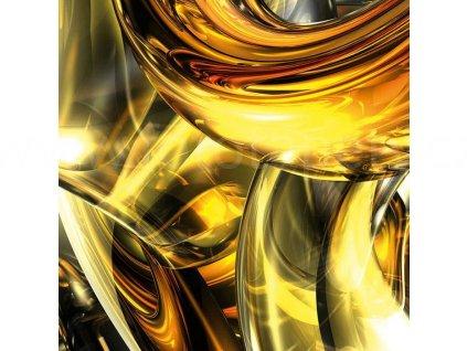 Třídílná vliesová fototapeta Zlaté víření, rozměr 225x250cm, MS-3-0291