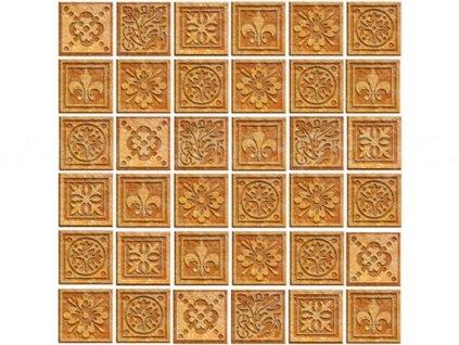 Třídílná vliesová fototapeta Žulové kachličky, rozměr 225x250cm, MS-3-0274