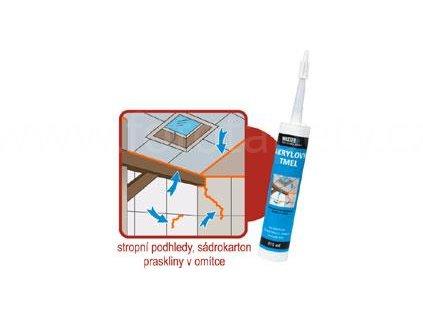 AKRYLÁTOVÝ TMEL na sádrokarton, praskliny v omítce, stropní podhledy