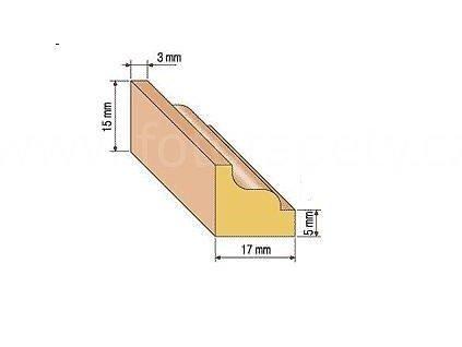 Dřevěná profilová lišta, 25/2 (Varianta borovice 1 metr)