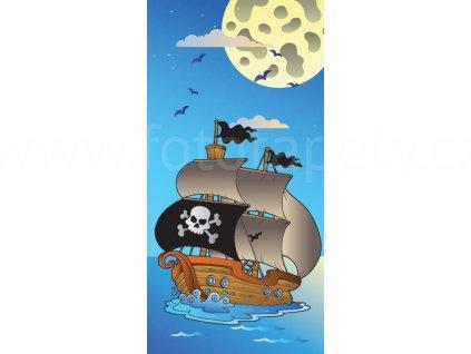 Dvoudílná dětská vliesová fototapeta Pirátská loď, rozměr 150x250cm, MS-2-0335