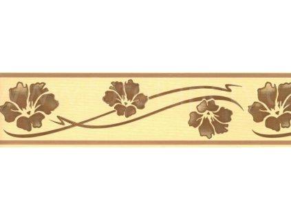 Bordura Žluto hnědé květy samolepící šíře 7,8cm, délka 10m (SB02-174), doprodej