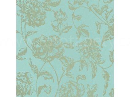 Vliesová tapeta na zeď Shine, 0,53x10,05m, SHE68636020 - tyrkysová se zlatými květy