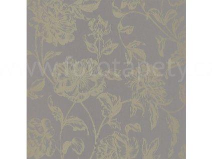Vliesová tapeta na zeď Shine, 0,53x10,05m, SHE68639025 - šedá se zlatými květy