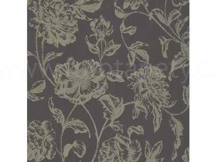 Vliesová tapeta na zeď Shine, 0,53x10,05m, SHE68639128 - černá se zlatými květy