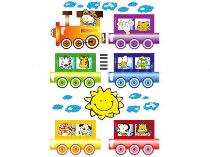 Dětská samolepící dekorace na zeď a nábytek - Vlak se zvířátky, ST1 002