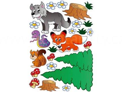 Dětská samolepící dekorace na zeď a nábytek - Zvířátka - liška, veverka, vlk, ST1 004