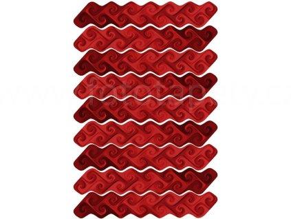 Samolepící dekorace na zeď a nábytek - Červené vlny, 50x70cm, ST1 026
