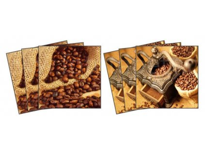 Dekorace na kachličky, vzor Kávová zrnka, 15x15cm